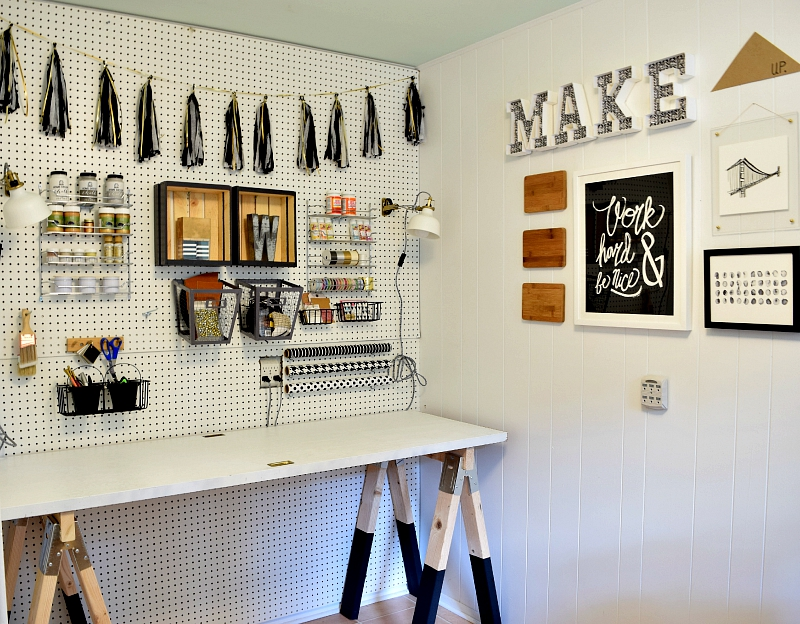 Craft room with a sawhorse table
