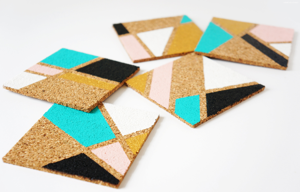 Geometric colorful cork coasters