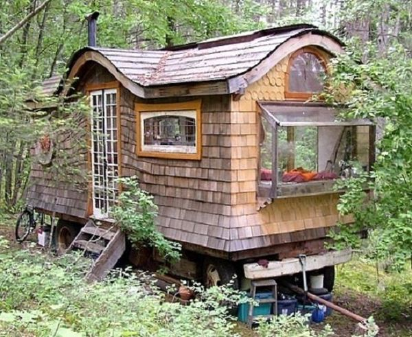 A Gypsy Caravan In The Middle Of Forest