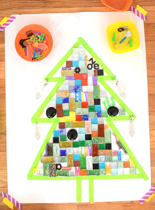 Holiday tree from mosaic for kids
