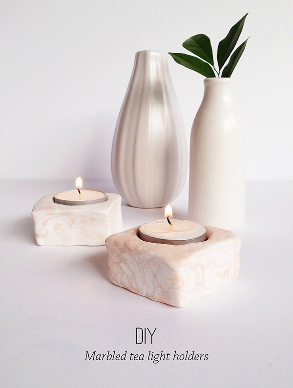 Marbled tealight candle hoders