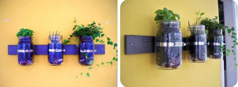 Mason jar garden wall planter