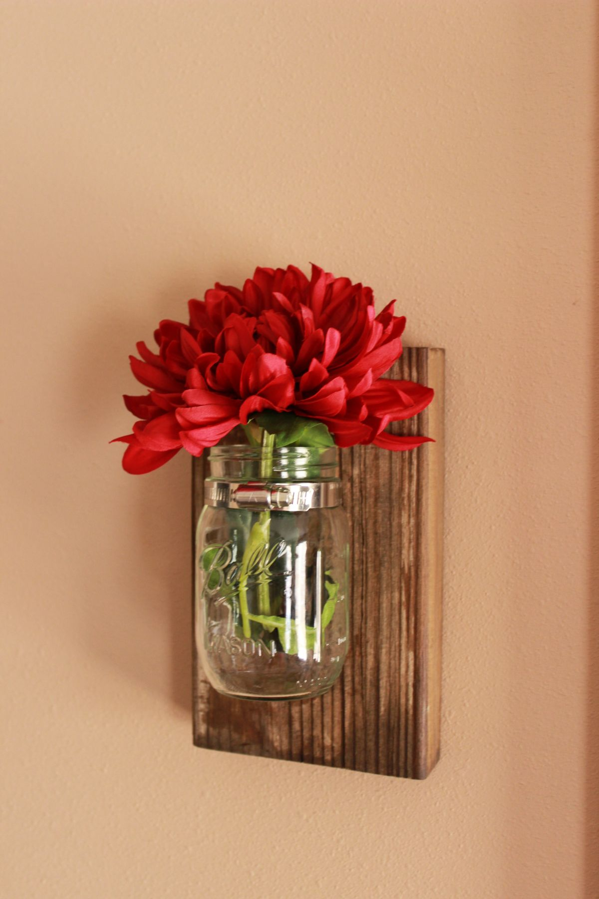 Mason jar wall flower vase