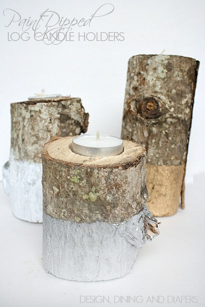 Paint dipped log candle