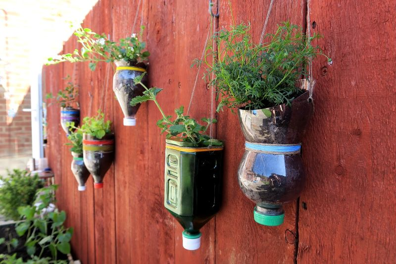 Plastic bottles planter
