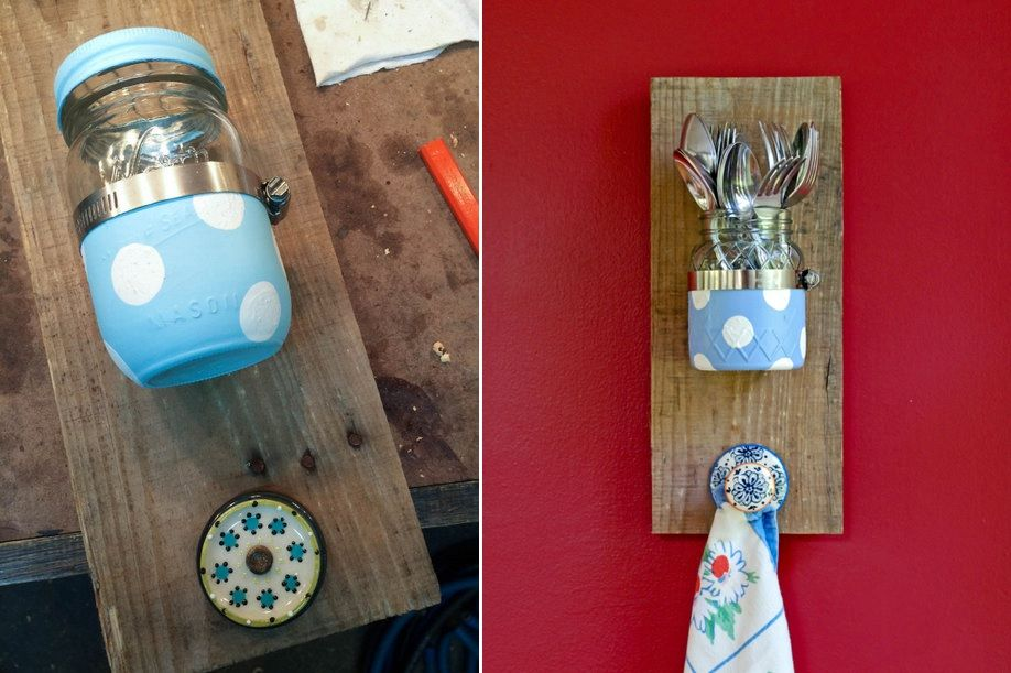 Reclaimed wood and mason jar wall organizer