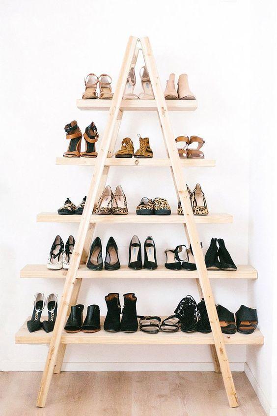 Shoe storage from ladder