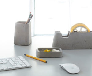 Architectural concrete desk accessories