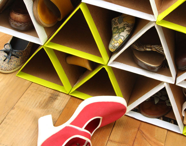 cardboard geometric shoe storage