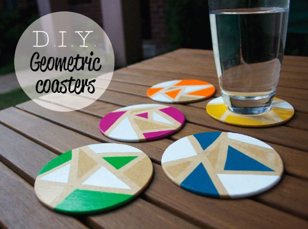 Chic diy coaster designs with geometric prints for Homemade coaster ideas