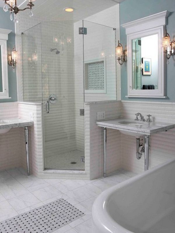 small corner bathtub with shower.  View in gallery Save space with a corner shower 10 Walk In Shower Design Ideas That Can Put Your Bathroom Over The Top