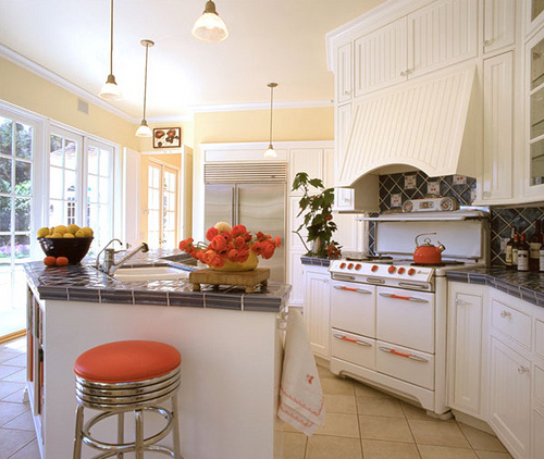 White Kitchen With Orange Accents Design Ideas: 6 Tips To Using Coral In The Kitchen