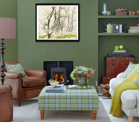 Decorating a hunter green living room for Green and brown living room walls