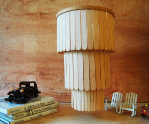 DIY popsicle stick chandelier