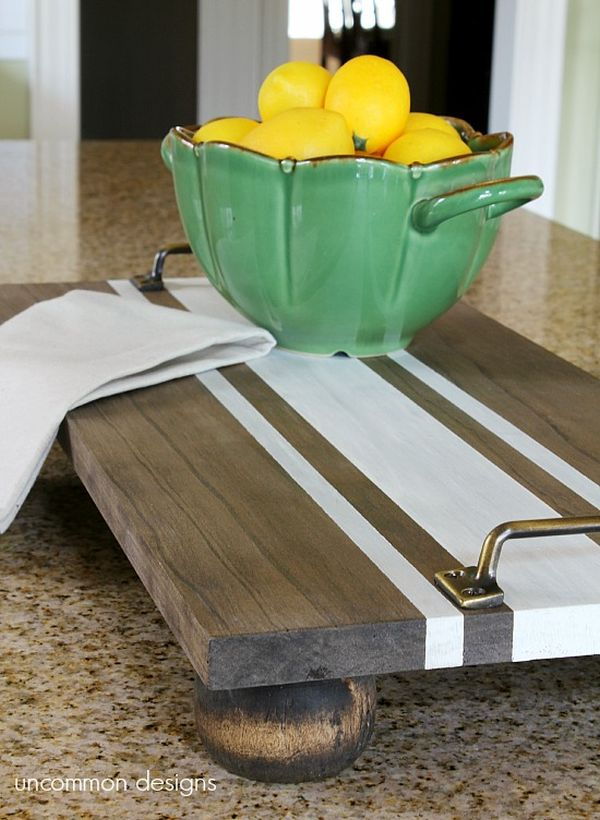 Striped Wooden Tray.
