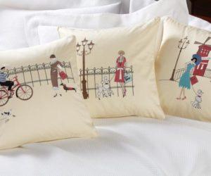 Delightful Shopping Paris Throw Pillows