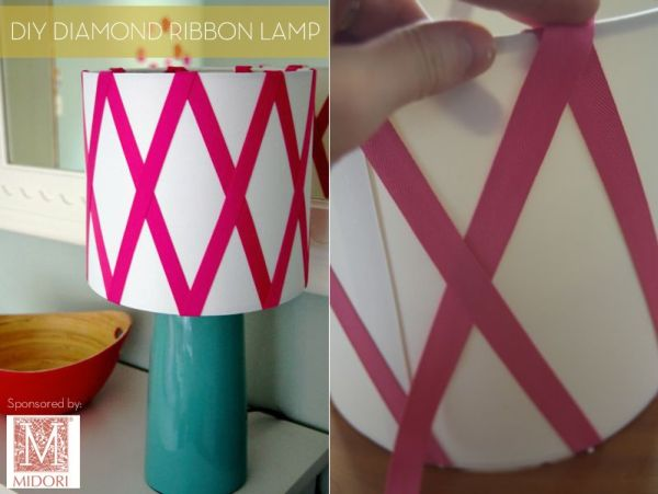 21 creative diy lighting ideas diamond ribbon lampshade aloadofball Choice Image