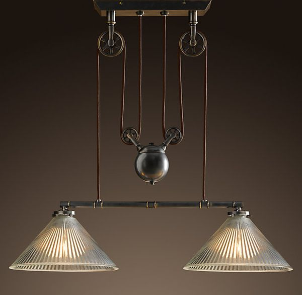 The industrial Pulley double pendant : industrial lamp from www.homedit.com size 600 x 586 jpeg 28kB