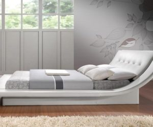 Calyx Modern Bed with Curved Headboard