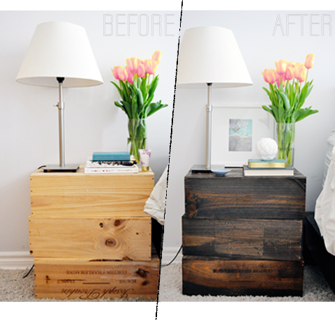 rustic diy nightstands made out of wine boxes Diy Rustic Nightstand