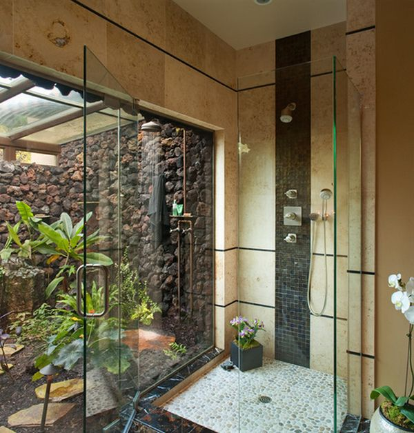 indoor outdoor combo - Shower Designs Ideas