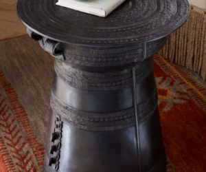 Antique rain drum side table
