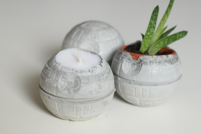 star wars concrete death star candles
