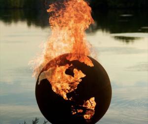 Unusual Artistic Fire Pit Looking Like Earth Globe
