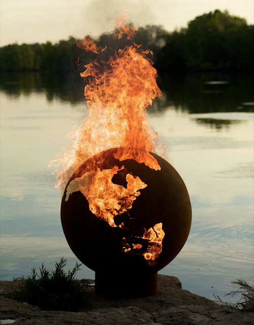Nice Unusual Artistic Fire Pit Looking Like Earth Globe Home Design Ideas