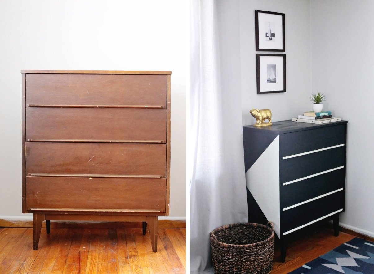 Black and white dresser design