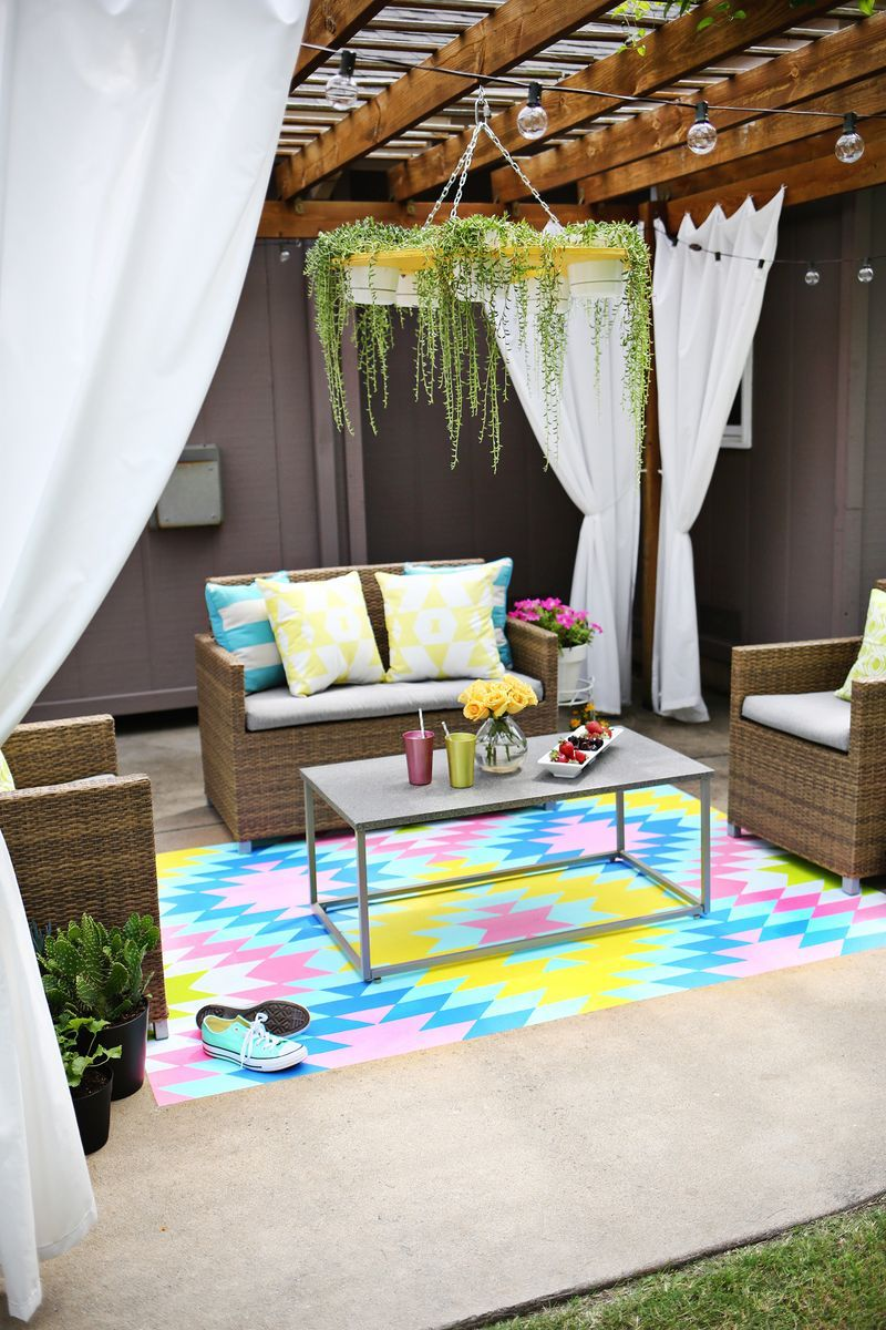 Colorful painted rug for outdoor