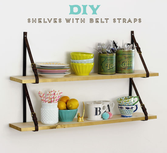 DIY Shelves with Belt Straps