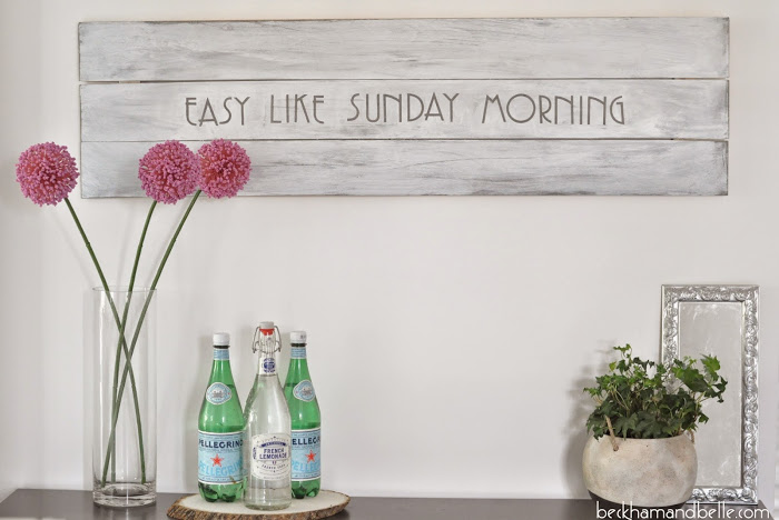 DIY super easy lightweight whitewashed sign