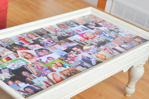 photo wall ideas Family Picture Collage Coffee Table