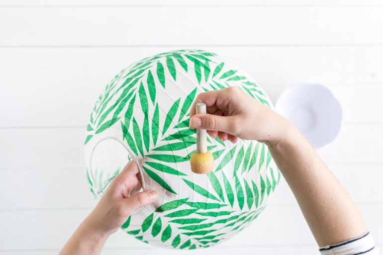Green paper lantern