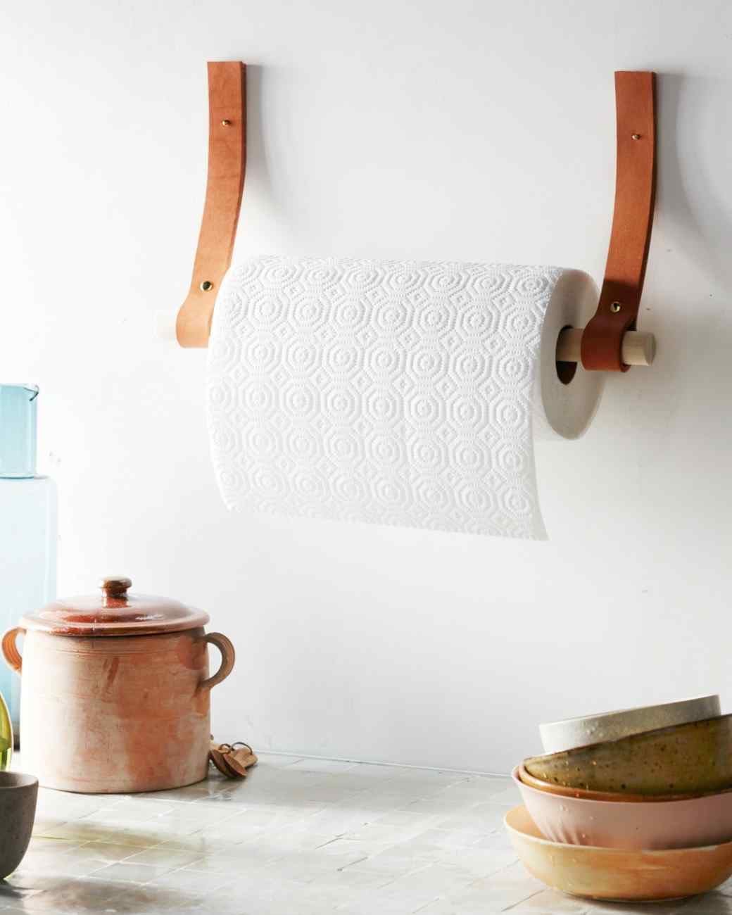 Leather straps paper towel holder