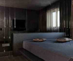 Highly modern and stylish interior in dark grey-brown colour