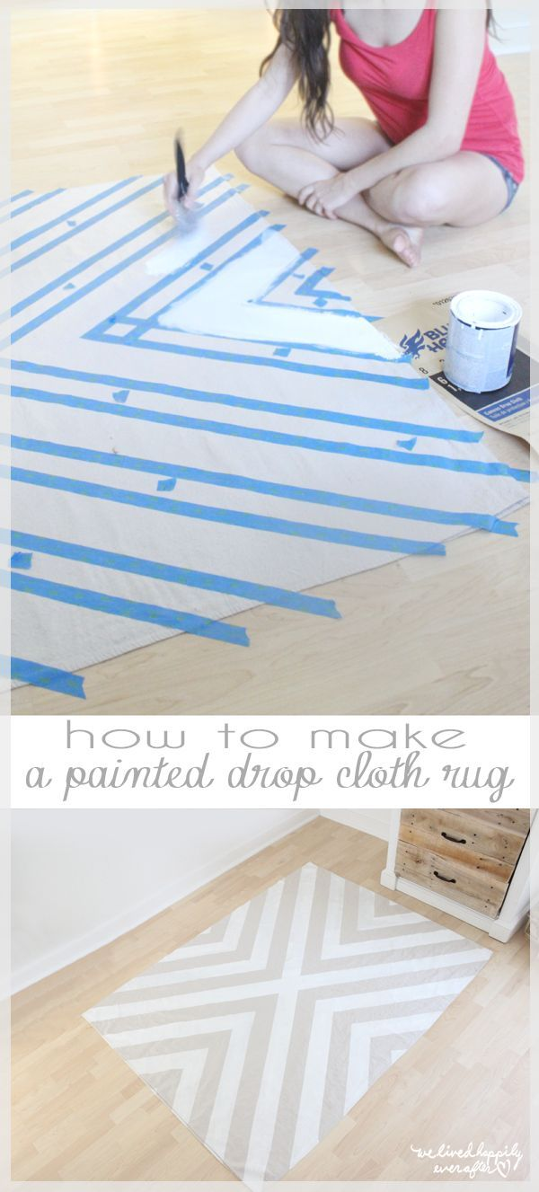 Painted drop cloth rug