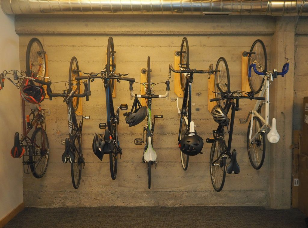 Reclaimed wood and pipe bike hanger