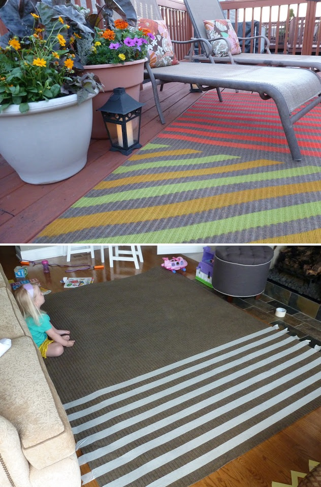 Striped colorful rug diy