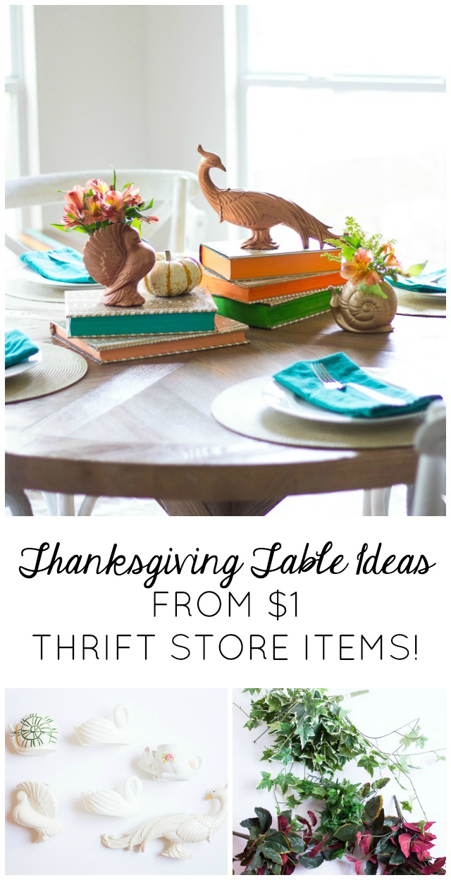 Thanksgiving table thift store items