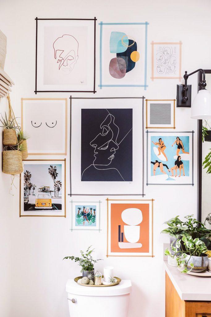 photo wall ideas Washi Tape Gallery Wall