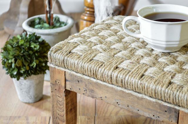 diy stool Wood And Twine Stool