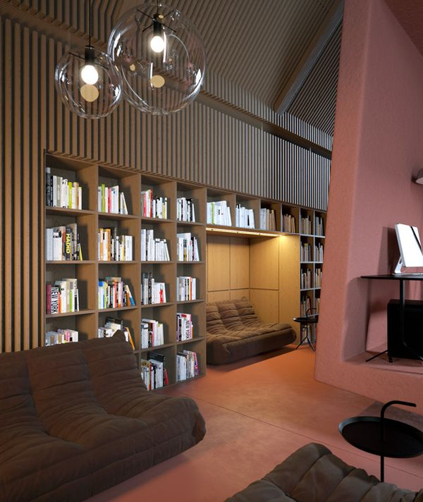 Stylish And Cozy Attic Office By Vasiliy Butenko
