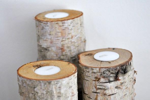 birch log canlderholder