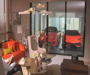 An exclusive apartment block where you can park your car from the living room[Video]