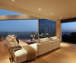 A luxurious home in California offering panoramic views of the city and ocean
