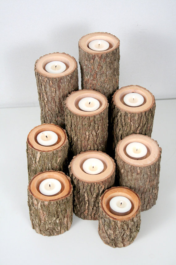 lighting candles from logs