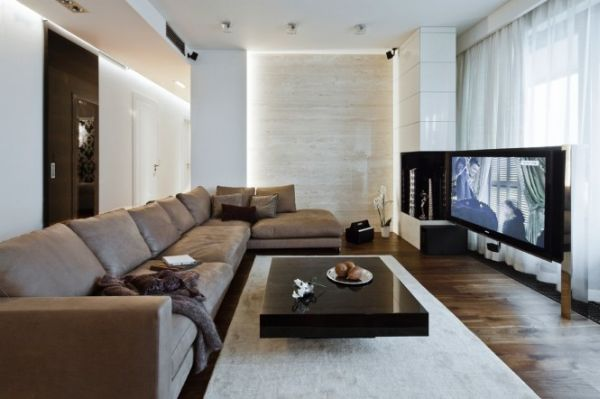 A modern apartment in poland with a warm interior and an for Wohnung dizayn