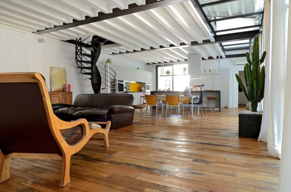 A beautifully restored loft in a former garage building for A frame garage with loft